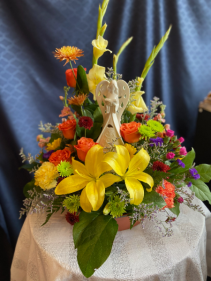 Lighted Angel arrangement  keepsake with fresh flowers