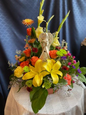 Lighted Angel arrangement  keepsake with fresh flowers