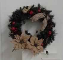 lighted burlap poinsettia  Silk Wreath