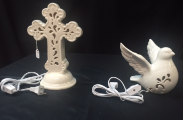Lighted Porcelain Cross and Dove