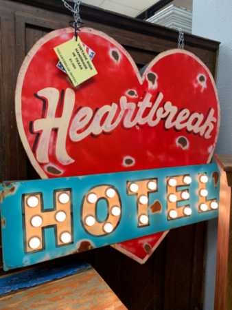Lighted Sign 'Heartbreak Hotel' Texas Made