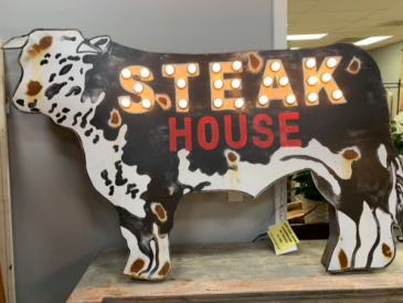 Lighted Sign 'Steak House' Texas Made