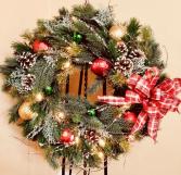 Lighted Silk Christmas Wreath 24