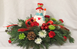 Lighted Snowman Centerpiece an Inspirations Original Design in Lock Haven, PA | INSPIRATIONS FLORAL STUDIO