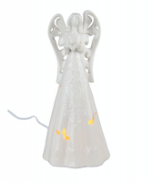 Lighted White Ceramic Angel 12