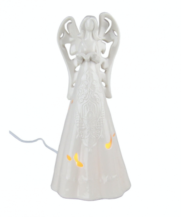 Lighted White Ceramic Angel 12""