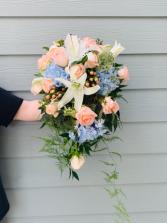 Lightly Cascading Coral Bridal Bouquet  Wedding