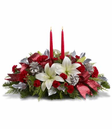 Lights Of Christmas Centerpiece All-Around Floral Arrangement