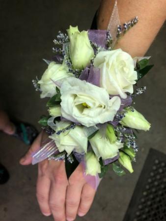 Lilac & White Wrist Corsage