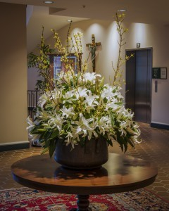 White Lilies and Yellow Forsythia va-107
