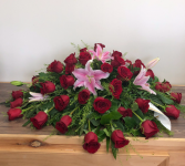 Lilies and roses Casket spray