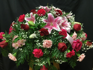 Lilies and Roses Casket Spray in Red Lake, ON | FOREVER GREEN GIFT BOUTIQUE