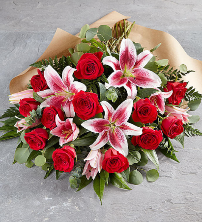 Lilies and Roses Hand Tied Bouquet