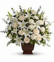 Lilies and Roses Monocromatic Funeral