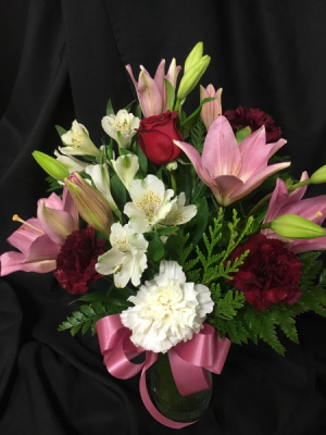 Lilies and Roses Vase Arrangement in Red Lake, ON | FOREVER GREEN GIFT BOUTIQUE