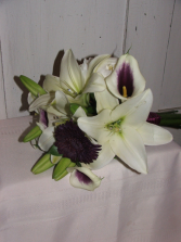 Lilies and Wine Handheld Bouquet