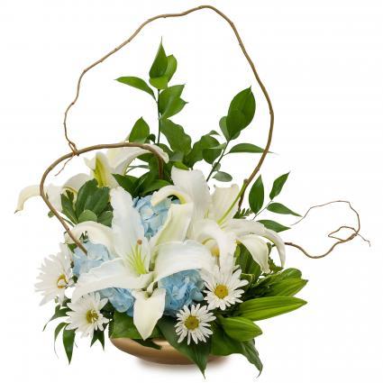 Lilies in Blue Arrangement