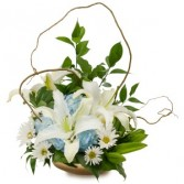 Lilies in Blue Arrangement
