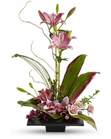 Lilies Orchids And Roses Flower Arrangement