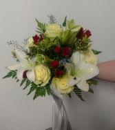 Lilies, Roses and Spray Roses Hand Tied Bouquet