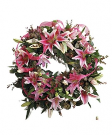Lilies white or Pink Wreath Funeral