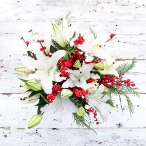 Lily Winterberry Beauty European Hand Tied Cut Bouquet (no vase)