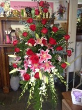 Lilly and Rose Remembrance Easel Spray