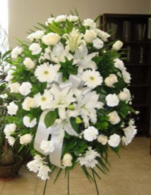 LILLY AND WHITE ROUNDED SPRAY FUNERAL PC GOOD FOR FUNERAL AND MEMORIAL SERVICES