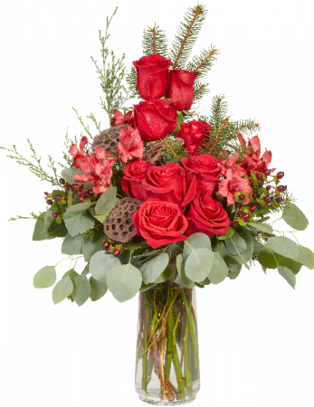 Lily and Lotus Holiday Vase Arrangement