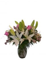 LILY AND ROSE BOUQUET VASE ARRANGEMENT