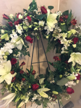 Lily and  Rose Funeral Ring Wreath