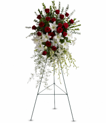 Lily and Rose Tribute by Teleflora Standing Easel Spray