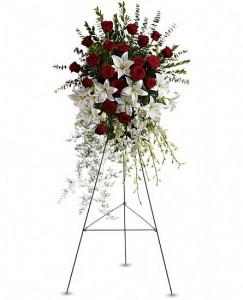 Lily and Rose Tribute Spray Standing Spray in Bethel, CT | BETHEL FLOWER MARKET OF STONY HILL