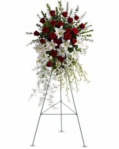 Lily and Rose Tribute Spray Sympathy Arrangement in Jasper, TX | BOBBIE'S BOKAY FLORIST
