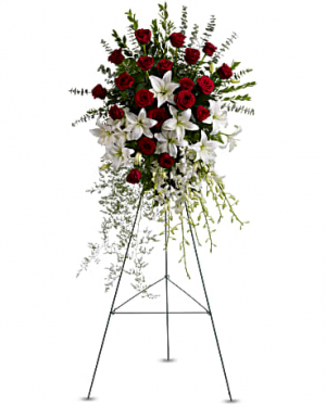 Lily and rose tribute standing spray in Berkley, MI | DYNASTY FLOWERS & GIFTS