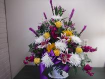 Lily Bright Funeral Basket Sympathy arrangements