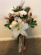 Lily & Copper Tip Rose Wedding Bouquets