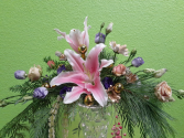 Lilies and Roses Table Arrangements