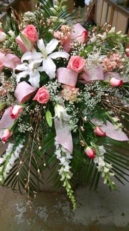 lily rose /peach white casket spray
