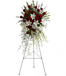 Lily Rose Tribute Spray Sympathy Standing Spray in Cape Coral, FL | ENCHANTED FLORIST OF CAPE CORAL
