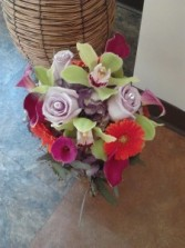 Lime Cymbidium Orchids And Gerbra Daisy Hand Tied Bouquet