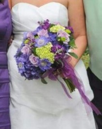 Lime Green and Purple Bridal Bouquet Hand-Tied Bridal Bouquet