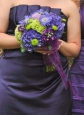 Lime Green and Purple Bridesmaid Bouquet Hand-Tied Bridesmaid Bouquet