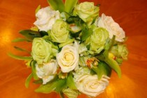 Lime Green & Bright White Handtied Bouquet