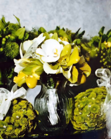 Lime green Orchid bridal bouquet  Wedding