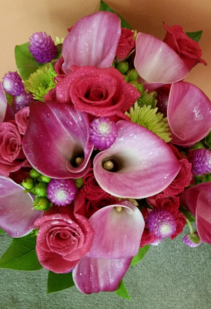 Lime greens & Hot Pinks Handtied Bouquet