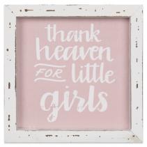 Linen Sign Thank Heaven for Little Girls