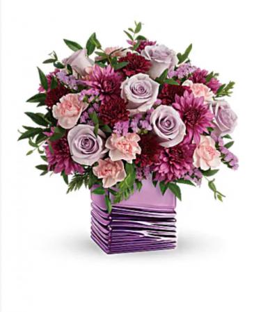 Liquid purple cube  Purple roses