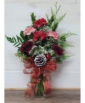Little bit of christmas 6 carnations in vase