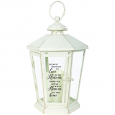 Little Bit of Heaven in our Home. Antique lighted White lantern
